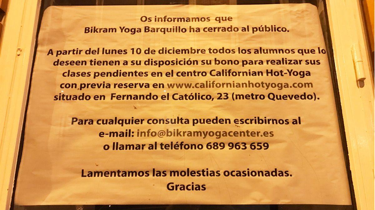 Cartel informativo de Bikram Yoga Barquillo | SOMOS CHUECA