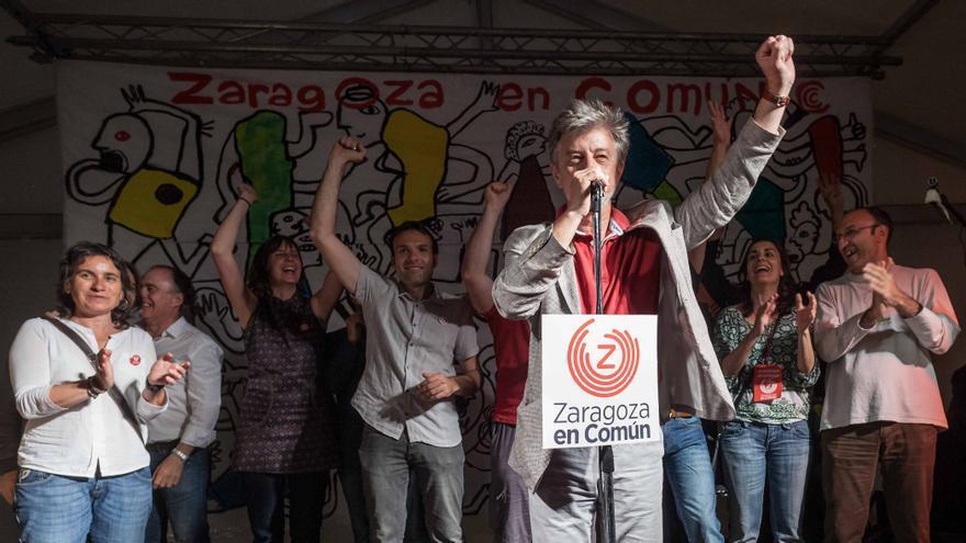 Pedro Santisteve en la noche electoral del 24 de mayo de 2015.