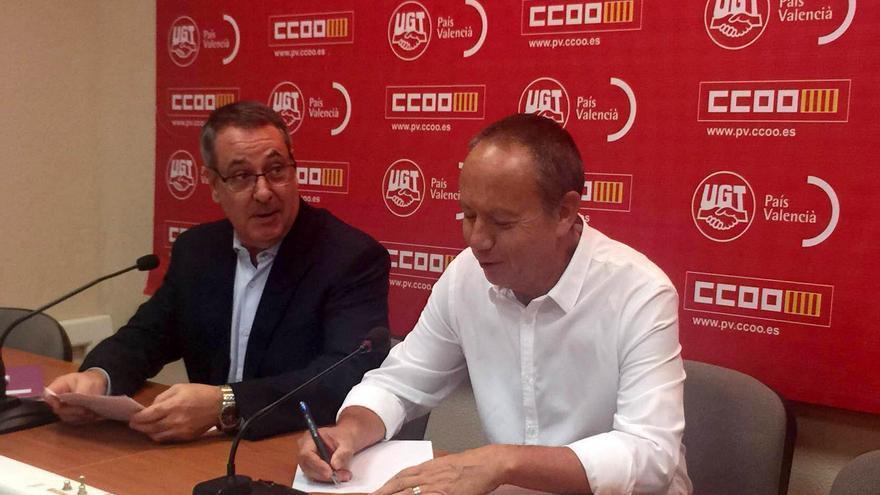 Los secretarios generales de CCOO-PV y UGT-PV en rueda de prensa, Arturo León e Ismael Sáez