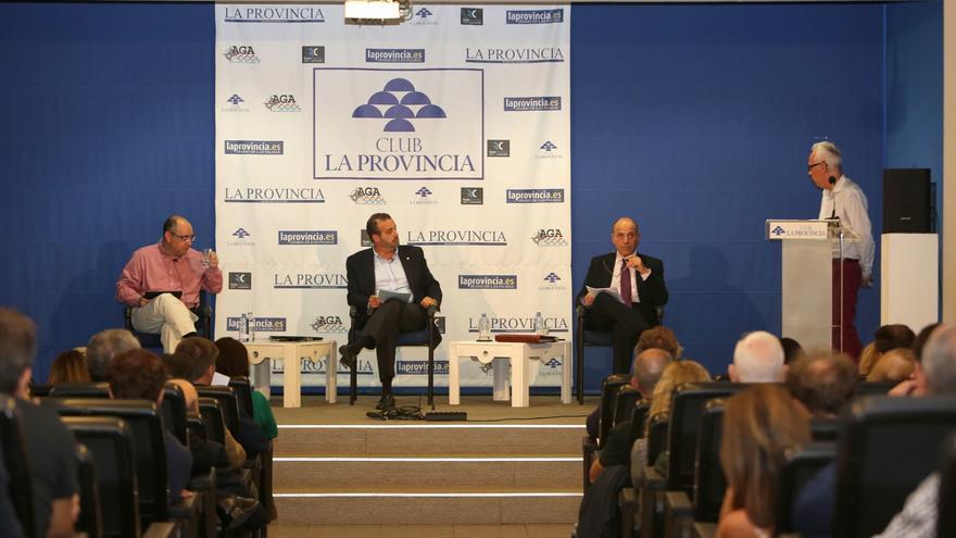 Debate en el Club Prensa Canaria de los aspirantes a Rector de la ULPGC, Eduardo Galván, Rafael Robaina y Alberto Montoya. ALEJANDRO RAMOS.