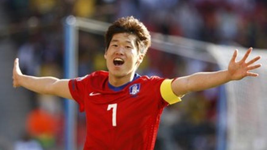 Park celebra el gol a Grecia