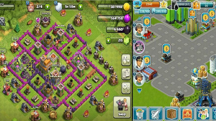 Clash Royale, Clash of Clans y Airport City (de izquierda a derecha)