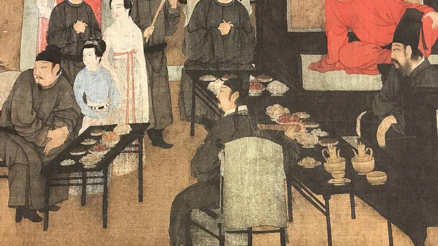 El banquete nocturno de Han Xizai, pintado por Gu Hongzhong entre el año 937-975