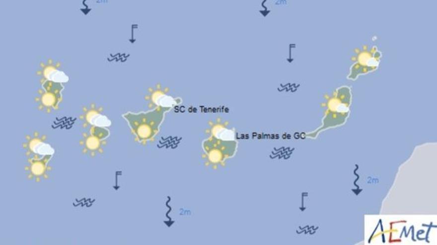 Mapa con la previsión meteorológica para este sábado, 20 de mayo de 2016