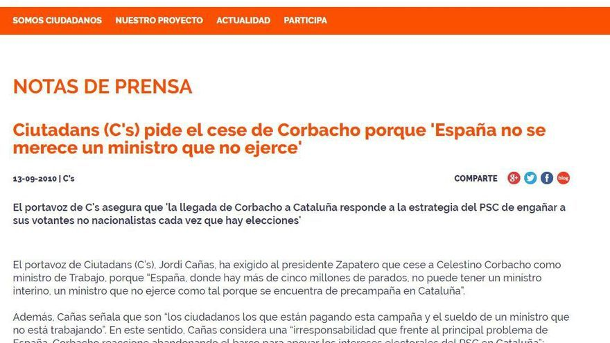 """Ciudadanos sobre Corbacho: """"España no se merece un ministro que no ejerce"""""""