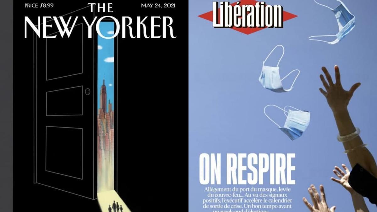 El momento del anuncio de la liberación de las restricciones por la pandemia llegó ya a Estados Unidos y Francia mostrada por The New Yorker y Libération
