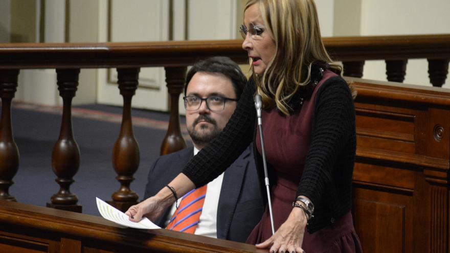 Los diputados del PP en el Parlamento de Canarias Asier Antona y María Australia Navarro