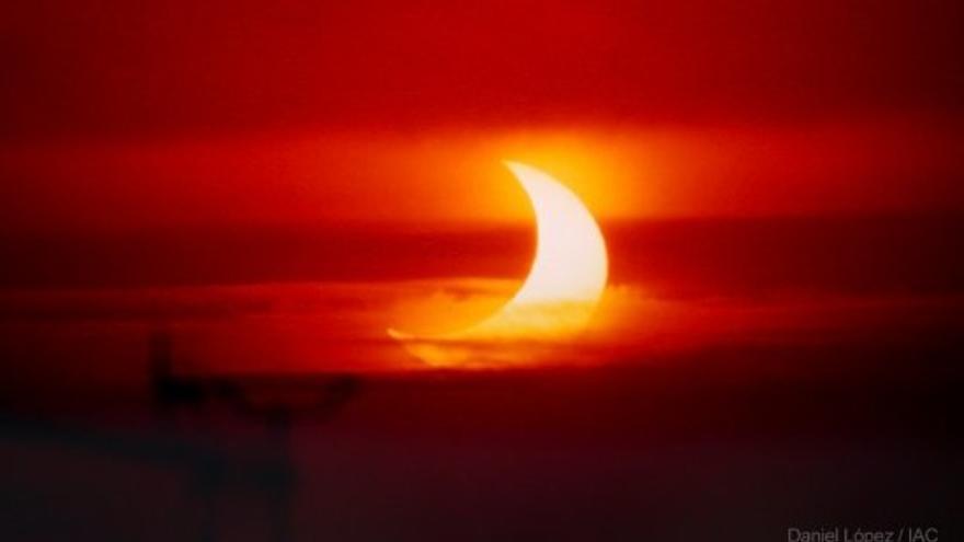 Imagen de archivo de un eclipse parcial de Sol. Foto: Daniel López/IAC