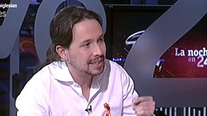 El secretario general de Podemos, Pablo Iglesias, en La Noche en 24 horas.