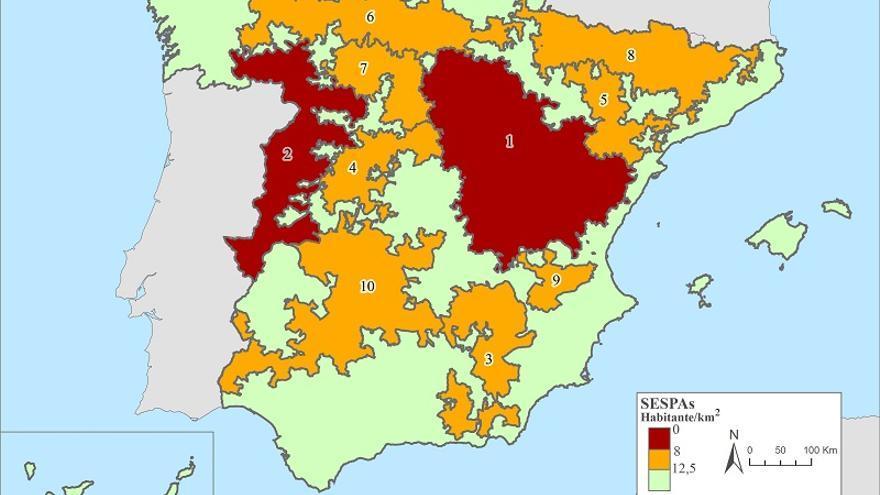 Mapa de la despoblación. Fuente: Instituo de Investigación y Desarrollo Serranía Celtibérica