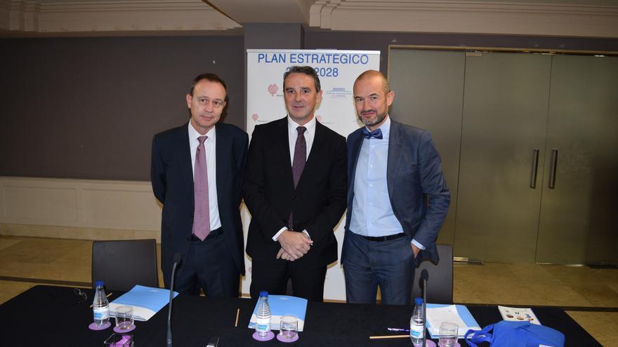 Javier Palau (c) y Sergio García (d), gerente del hospital de la Ribera y consultor sanitario,