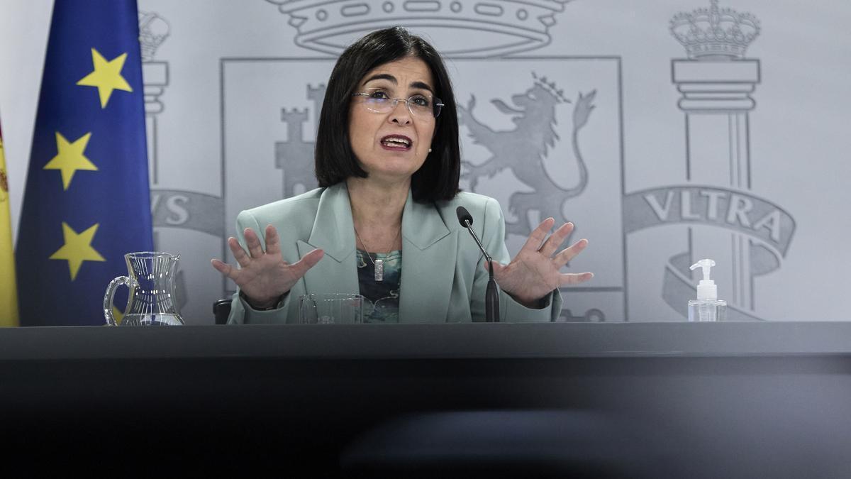 La ministra de Sanidad, Carolina Darias, tras anunciar el cambio de criterio sobre las restricciones a la hostelería