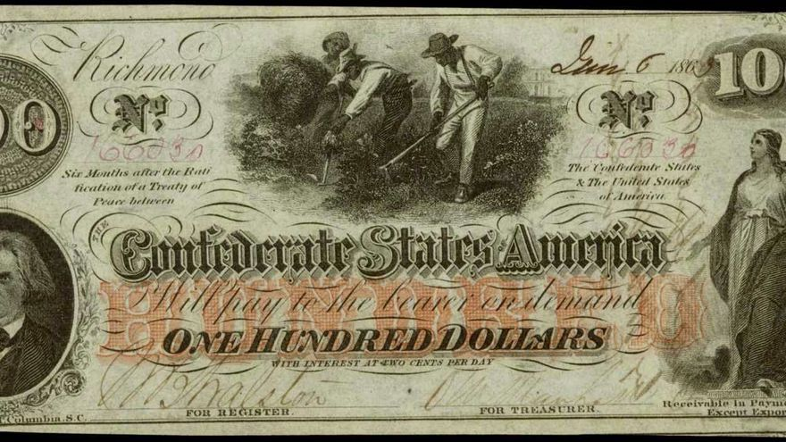 Billete de cien dólares emitido por el Gobierno de la Confederación con la imagen de esclavos trabajando en el campo.