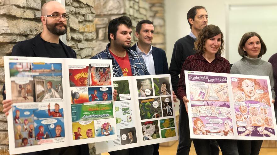 """Presentación de los cómics ganadores de héroes que tienen """"superpoderes"""" a través de la nanotecnología."""