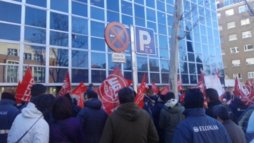 Manifestación de trabajadores de Elcogas ante EDF / FITAG-UGT