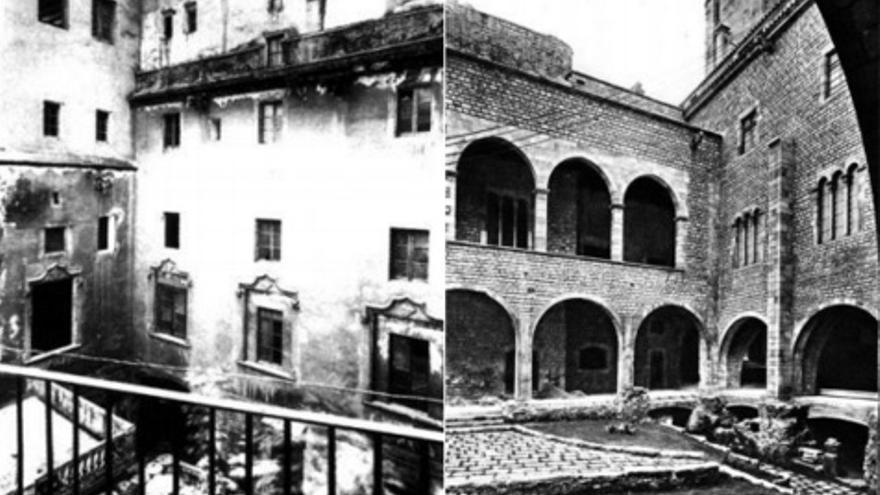 El pati del Museu Marés el 1944 i quatre anys després, un cop acabades les reformes / FOTOS DEL LLIBRE 'EL BARRIO GÓTICO DE BARCELONA. PLANIFICACIÓN DEL PASADO E IMAGEN DE MARCA'
