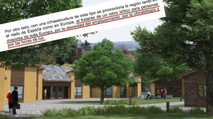"""Recreación del proyecto de macrogeriátrico Ciudad Verde de Guitiriz y fragmento del documento que apostaba por atraer usuarios """"de toda Europa"""""""