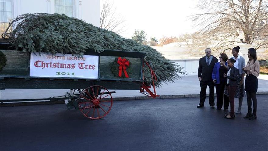 Michelle Obama y sus hijas reciben el árbol de Navidad de la Casa Blanca