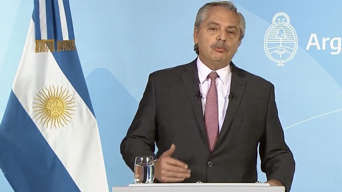 Alberto Fernández, durante su mensaje grabado.