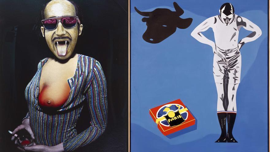 A la izquierda: 'Mullereta' (1975), de Jorge Rueda. A la derecha: 'Sí, sí entraremos en el Mercado Común' (1971), de Eduardo Arroyo