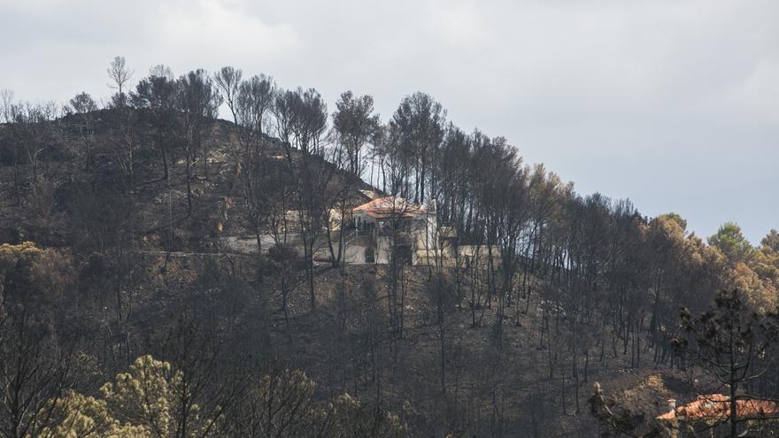Los efectos del fuego que ha quemado los montes valencianos