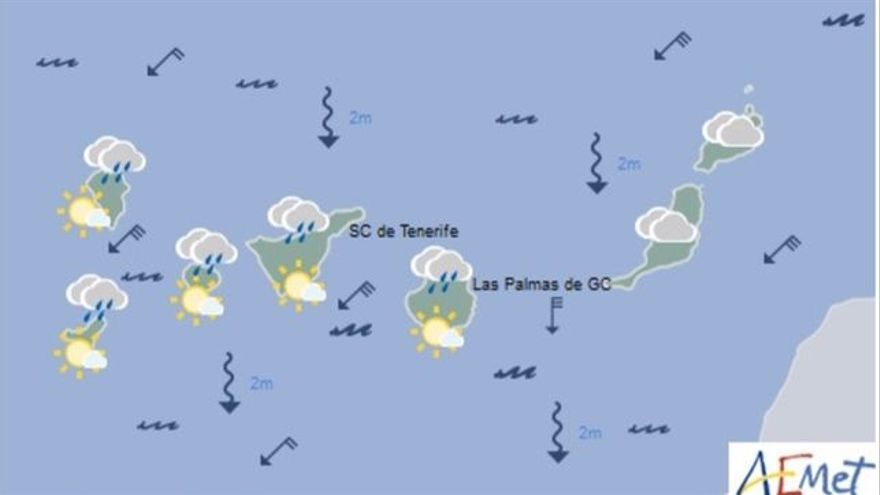 Mapa con la previsión meteorológica para este domingo, 4 de junio de 2017