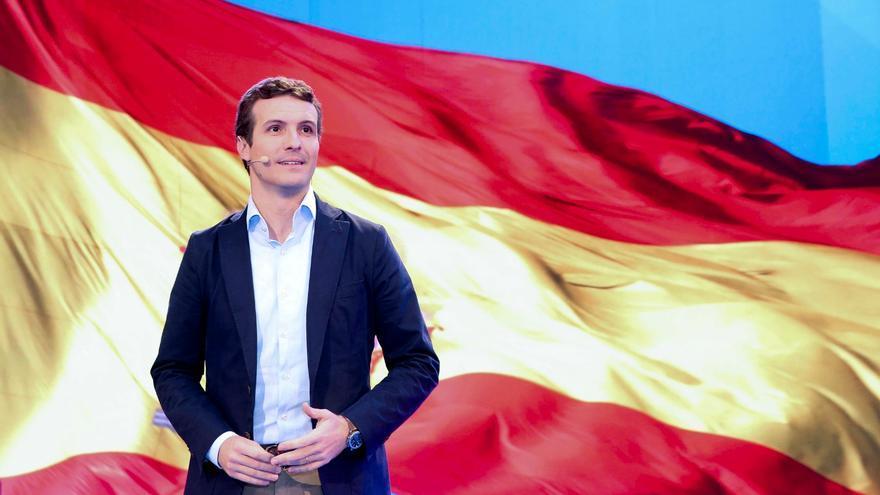 El líder del PP, Pablo Casado, este viernes, durante su intervención la Unión Intermunicipal, en Málaga.