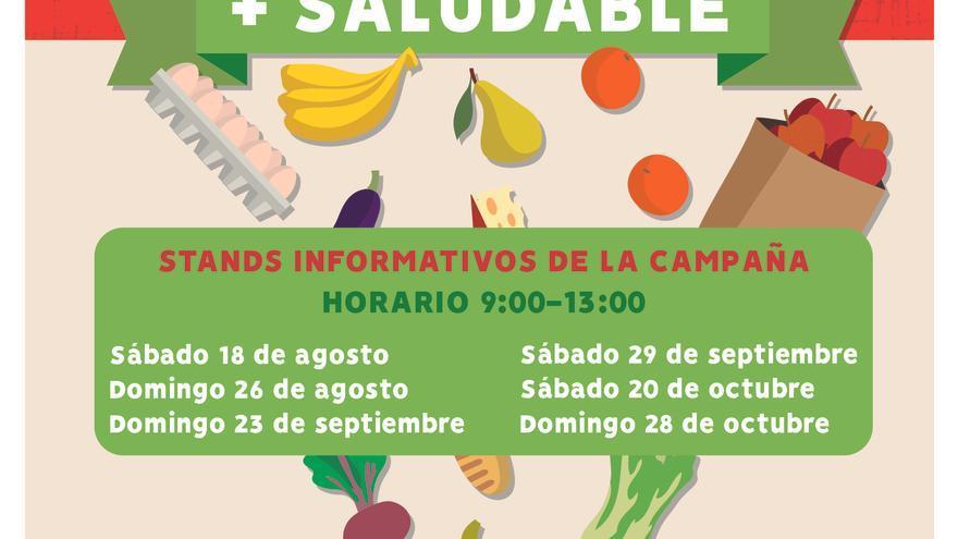 Cartel promocional del estand sostenible en el Mercado del Agricultor de Arona