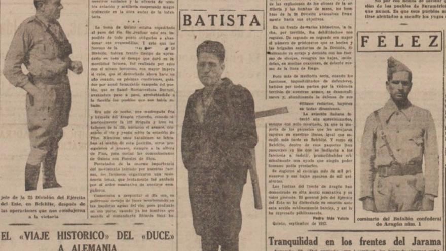 Contraportada de Solidaridad Obrera en la que aparece Bautista Albesa tras la conquista de Belchite.