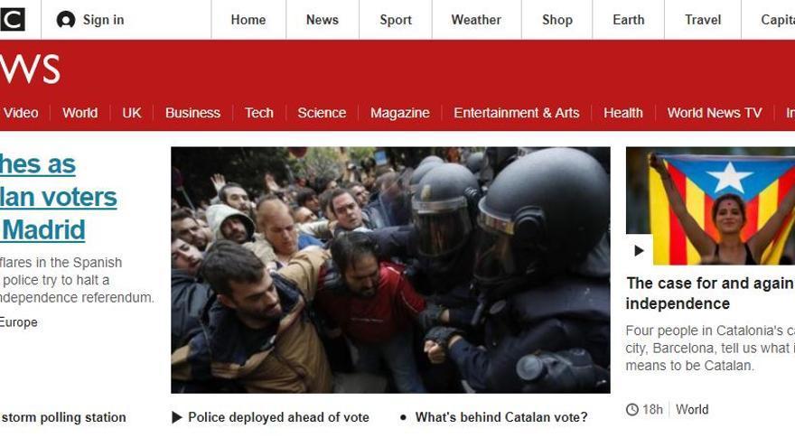 Portada de la BBC sobre el 1-O