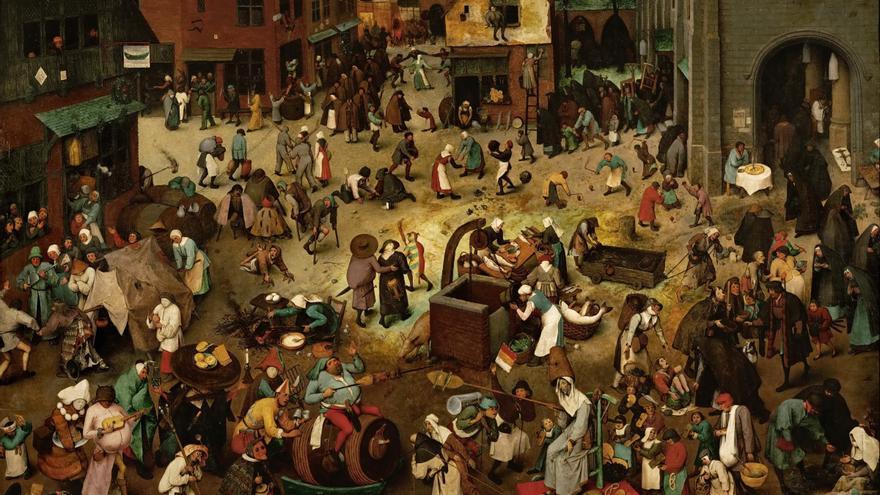 Cuadro 'El combate entre don Carnal y doña Cuaresma'. de Pieter Brueghel 'el Viejo'.