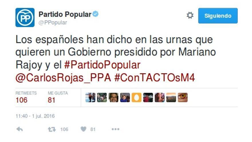 El tuit del PP