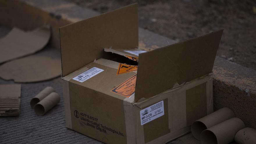 La policía hondureña gastó incontables cajas de estas granadas lacrimógenas de fabricación estadounidense.