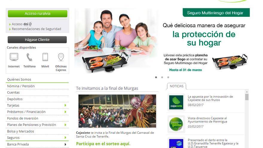 Pantallazo de la página de inicio de la web de Cajasiete