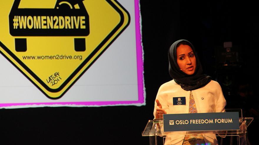 Manal Al Sharif durante una conferencia. Foto: Amnesty International Norge (Flickr)
