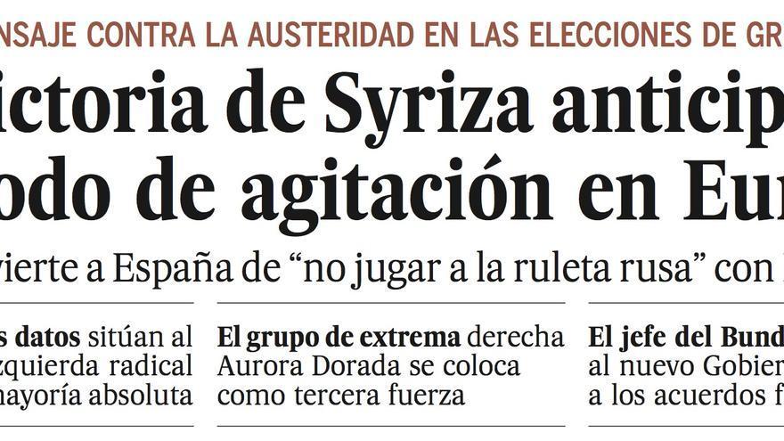 Portada de El País. / Perlas