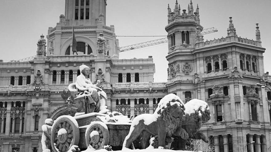 Madrid nevado. Fuente: Wikimedia Commons.
