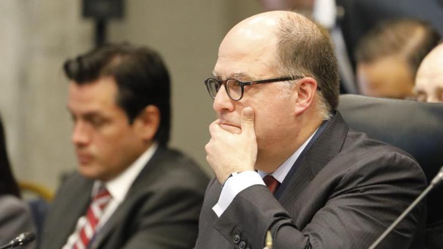 Julio Borges, comisionado presidencial para Asuntos Exteriores del presidente interino de Venezuela Juan Guaidó, participa en la Trigésima Reunión de Consulta de Ministros de Relaciones Exteriores del Tratado Interamericano de Asistencia Recíproca (TIAR), este martes en Bogotá (Colombia).