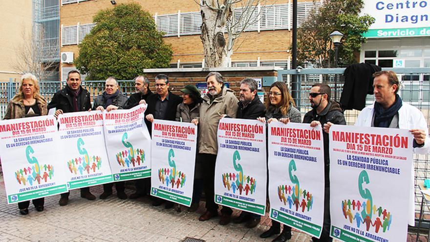 Concentración ante el complejo hospitalario de Toledo. Foto Comisiones Obreras CLM.