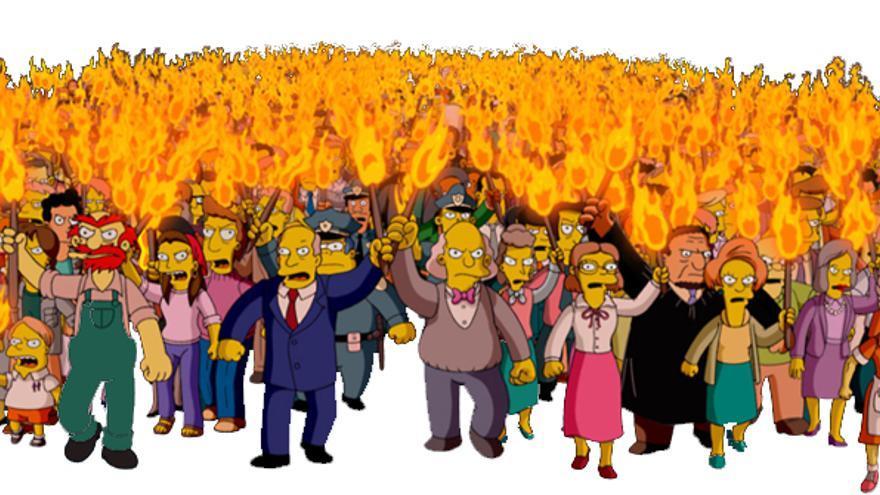 La Springfield Angry Mob, la masa enfurecida que aparece en la película de los Simpson