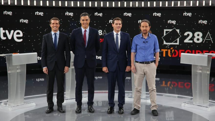 Pablo Casado, Pedro Sánchez, Albert Rivera y Pablo Iglesias, en el debate electoral de RTVE.