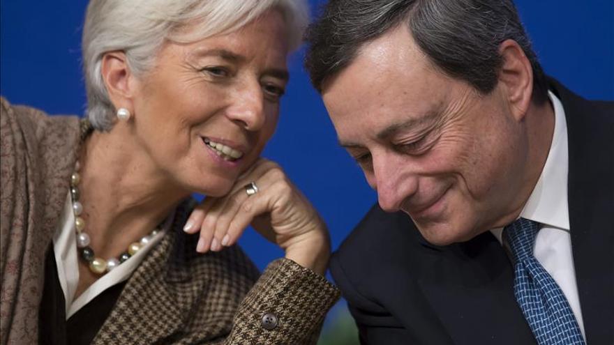 Mario Draghi (presidente del BCE) y Christine Lagarde (directora gerente del FMI) en una foto de archivo