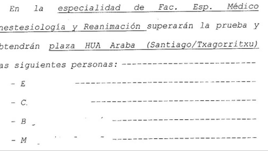Acta notarial elaborado por Elkarrekin Podemos en mayo con la predicción de los resultados de la OPE de Osakidetza