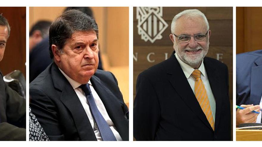 Los expresidentes Eduardo Zaplana y José Luis Olivas, el exvicepresidente Juan Cotino y el empresario Vicente Cotino.
