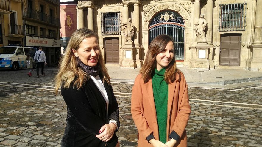 Victoria Rosell, en un acto celebrado en Pamplona junto a Ione Belarra, candidata de UP por Navarra