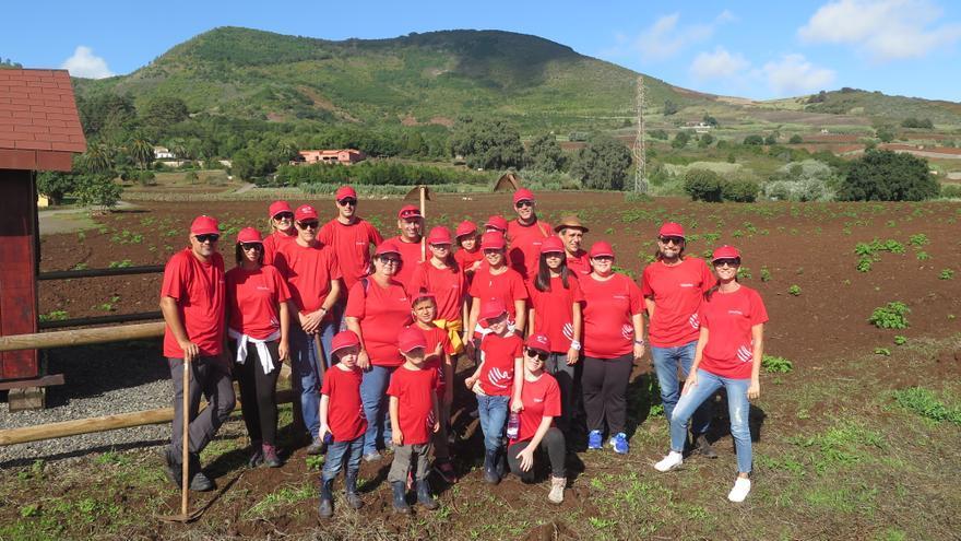 Participantes en la acción integrada en el programa 'Voluntas' de la Fundación Cepsa, en Gran Canaria