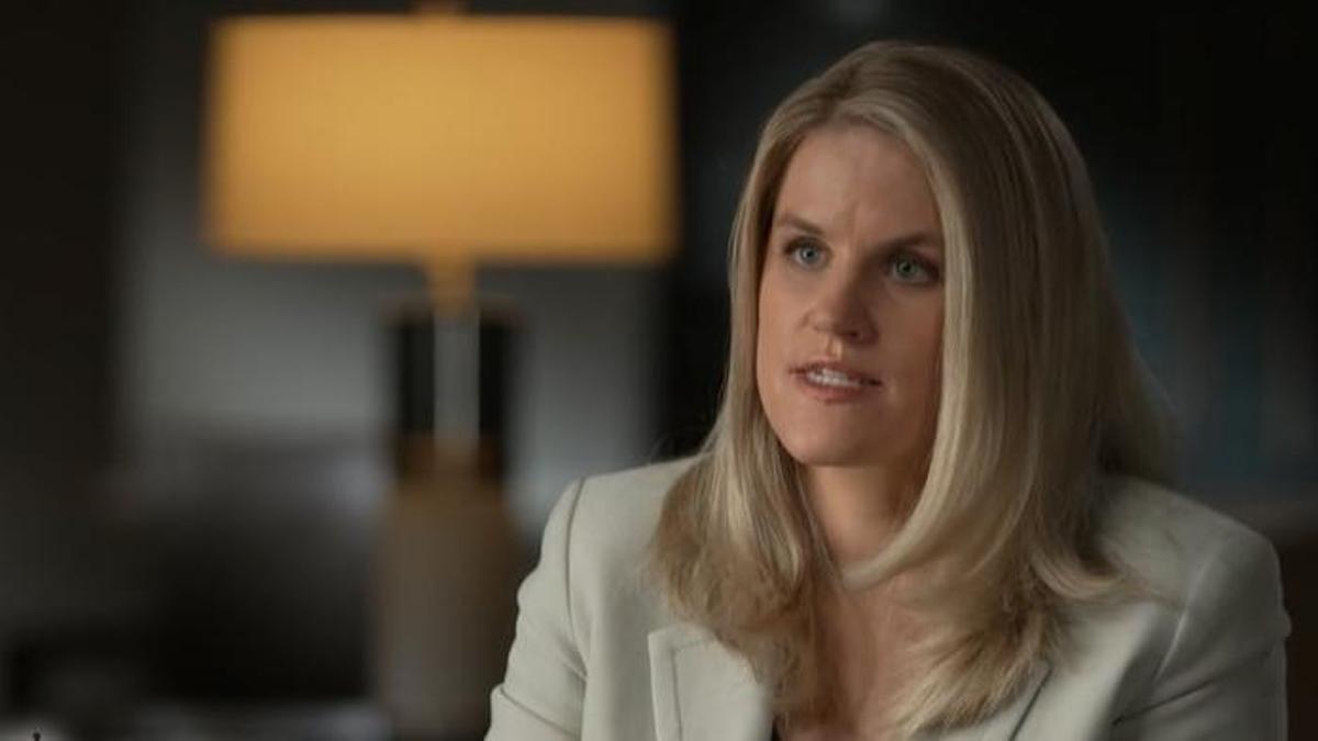 Frances Haugen, durante su intervención en el programa '60 minutos'.