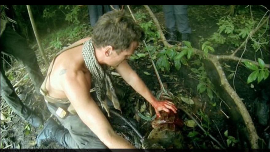 Pantallazo de la matanza de cocodrilos en el programa 'The Island with Bear Grylls', 2015.