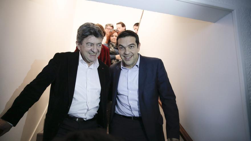 Los líderes de la Francia Insumisa y Syriza, Jean-Luc Melenchon y Alexis Tsipras.