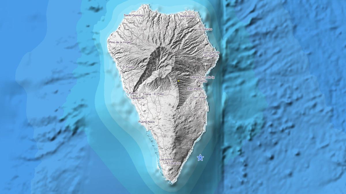 Imagen del IGN donde se indica el lugar en el que se ha localizado el movimiento sísmico este viernes 18 de junio, frente a la costa del municipio de Fuencaliente.